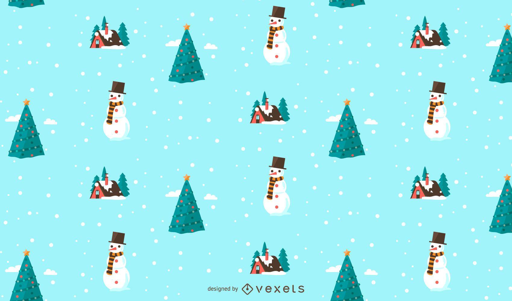 Diseño de patrón de nieve navideña