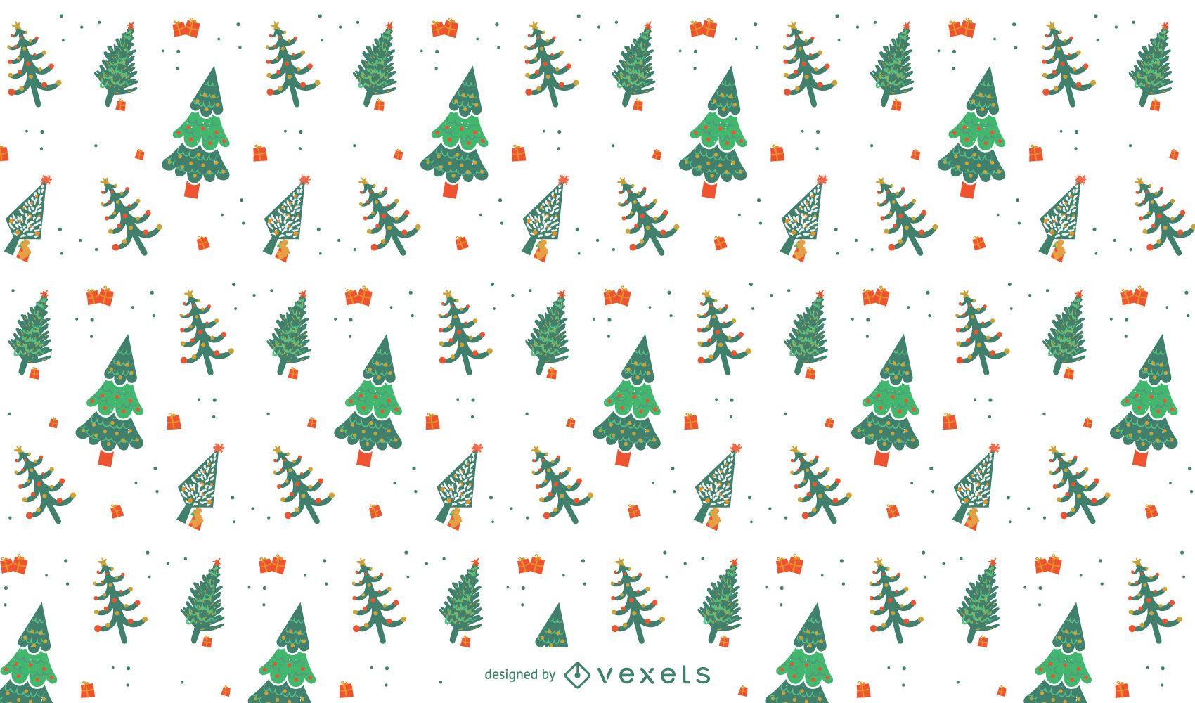 Desenho de padrão de árvores de natal