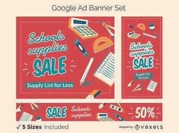 Conjunto de banner de anúncios do Google para promoção escolar