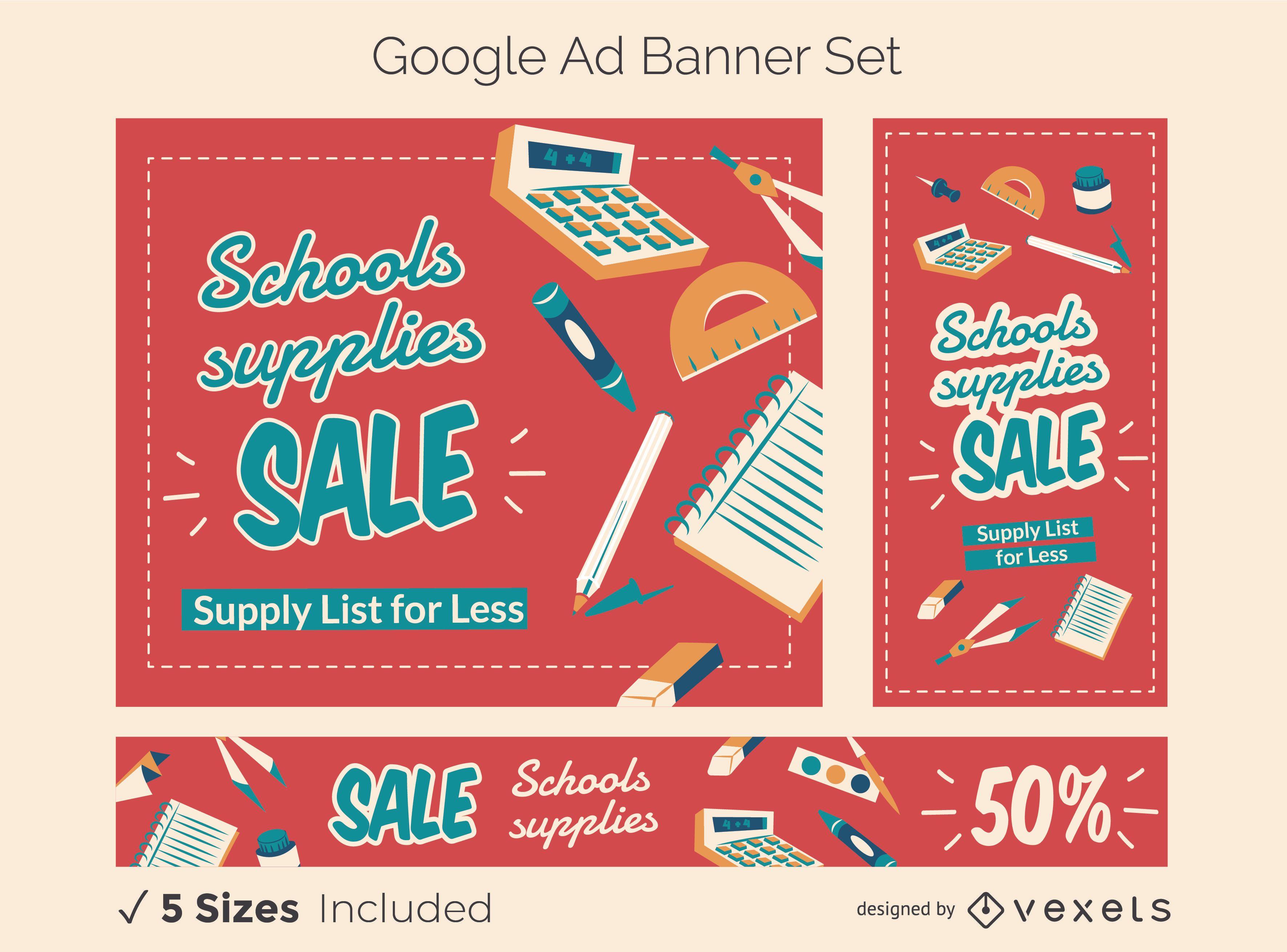 Conjunto de banners de anuncios de Google de promoción escolar