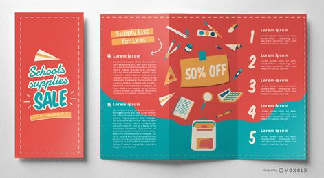 Design editável do folheto escolar