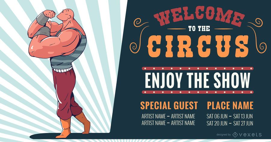 Circus Attraction Editable Banner Design