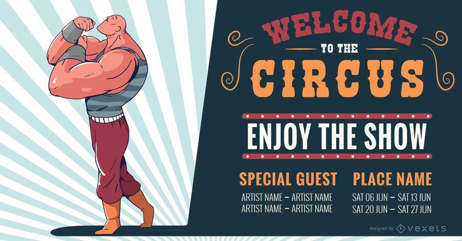 Diseño de banner editable de atracción de circo