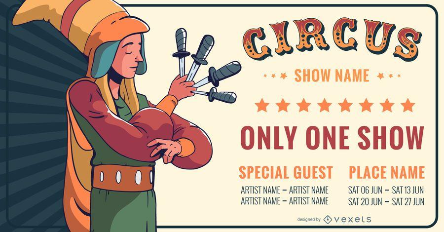 Banner de convite de show de circo