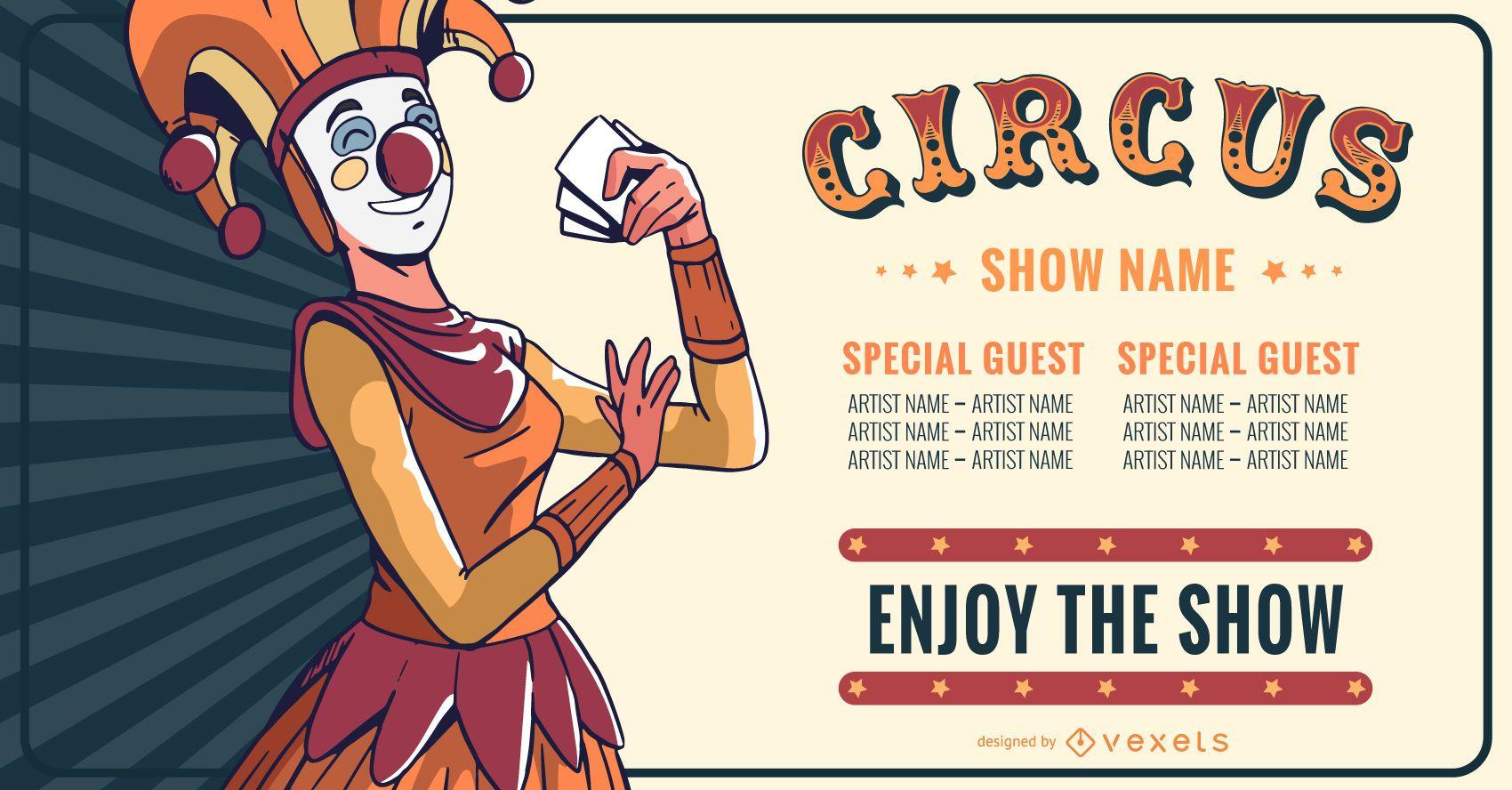 Diseño de banner editable de espectáculo de circo