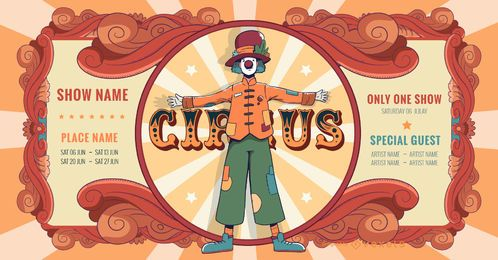 Diseño de banner de rendimiento de circo