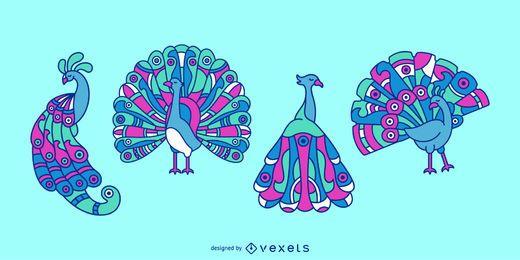 Conjunto de ilustração animal de pavão colorido