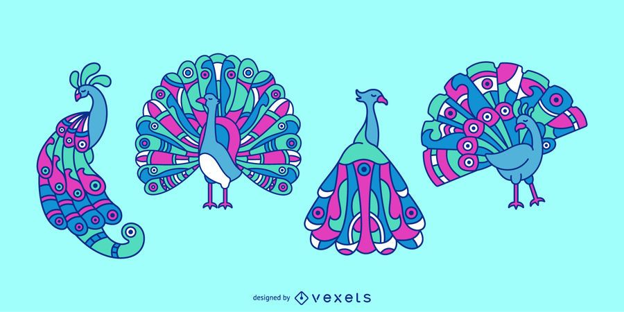 Conjunto de ilustración animal colorido pavo real