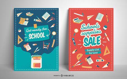 Modelo de pôster de venda de material escolar