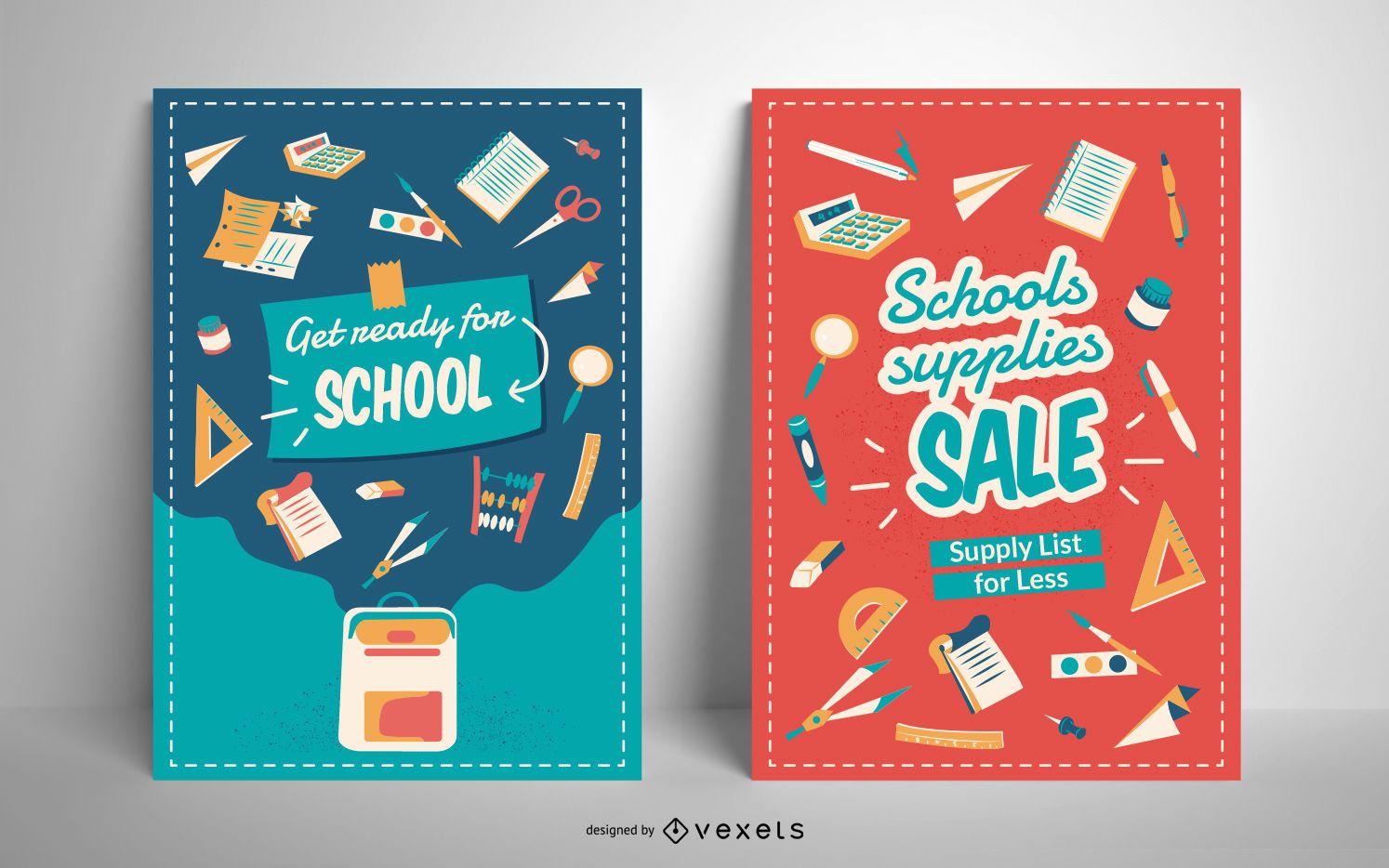 Plantilla de póster de venta de útiles escolares