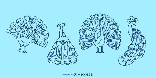 Conjunto de ilustración de trazo de pavo real