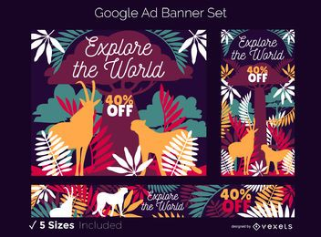 Tema Safari Conjunto de banners do Google Ads