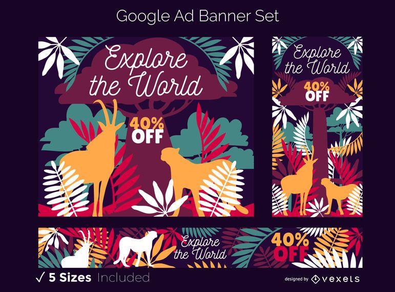 Conjunto de banners de anuncios de Google con tema de Safari