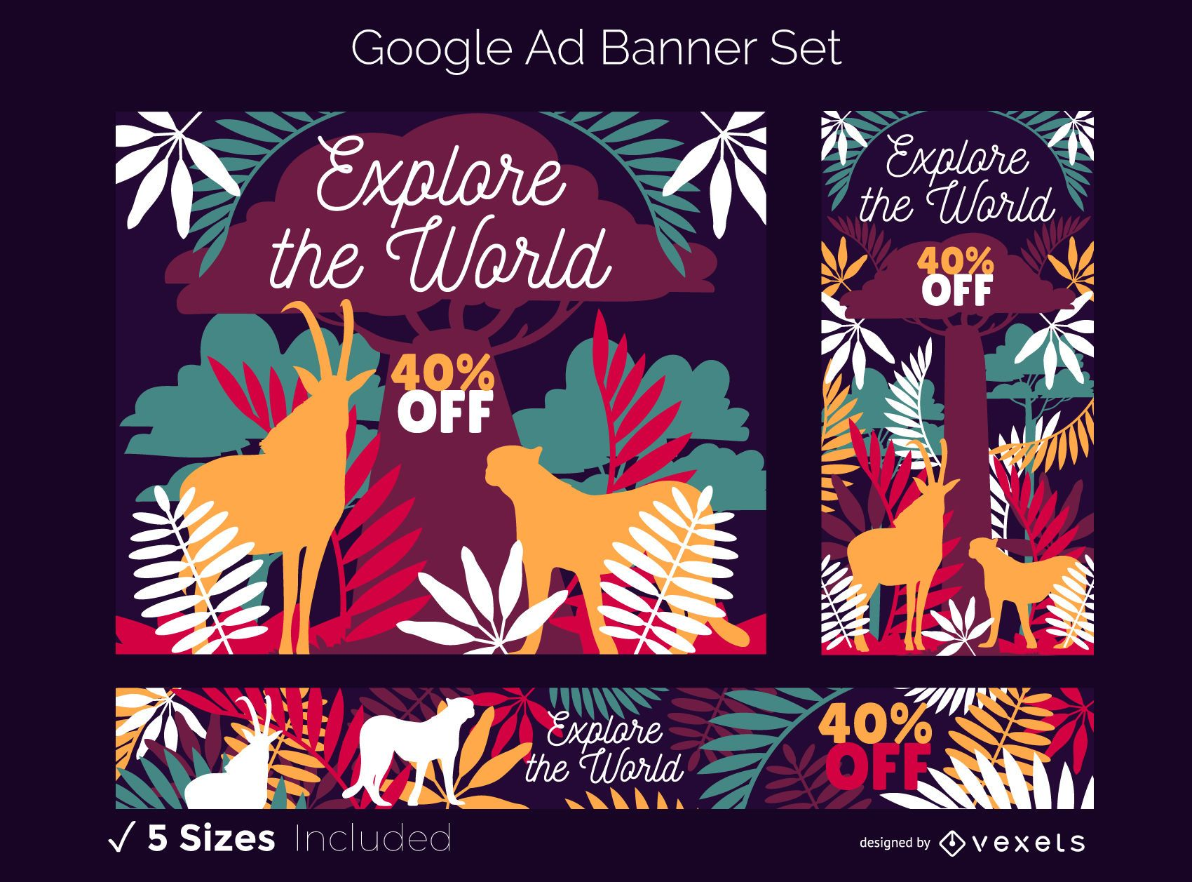 Conjunto de banner do Google Ads com tema Safari