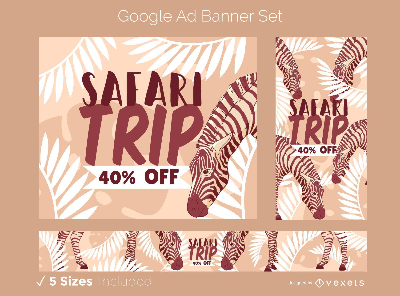 Conjunto de design de anúncios do Google Safari Trip