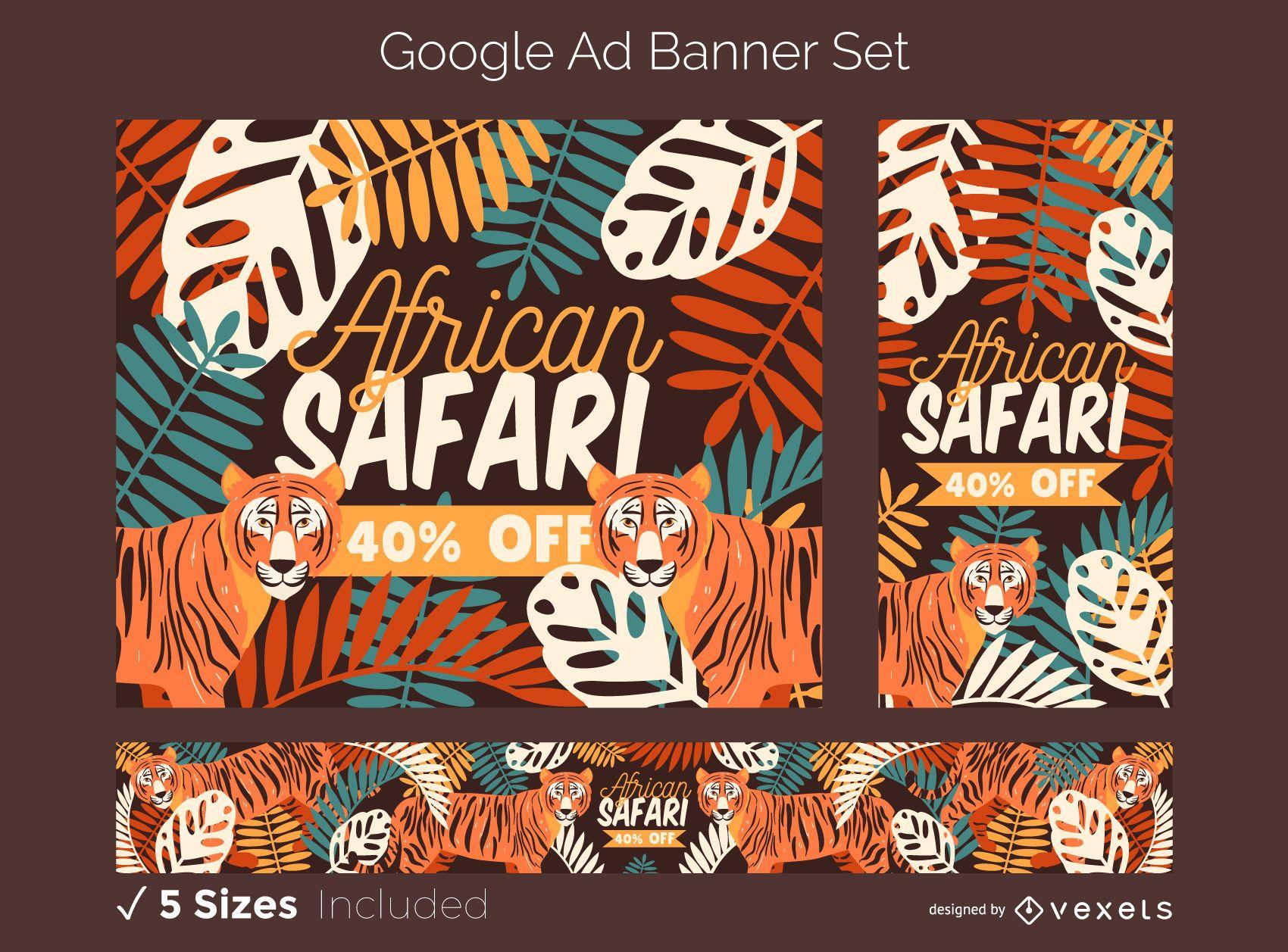 Conjunto de banners de anuncios de Google Safari africano
