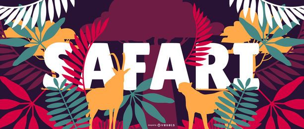 Design de banner de natureza safari