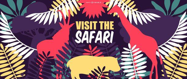 Projeto de Banner de natureza de viagem de safari