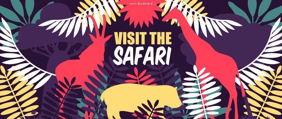 Diseño de banner de naturaleza de viaje de safari