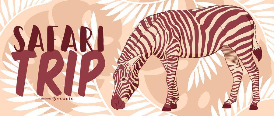 Projeto de banner de zebra de viagem de safari