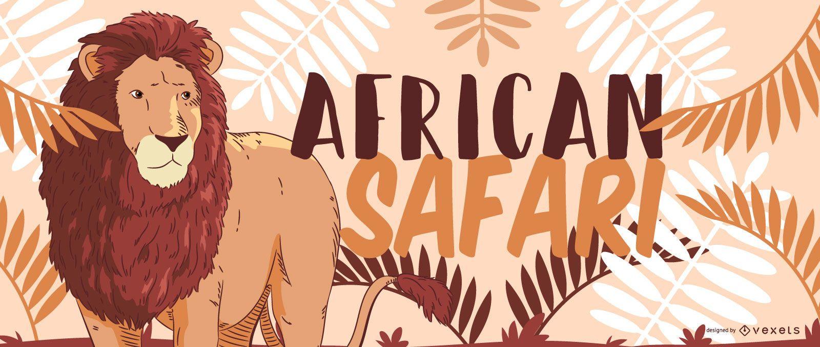 African safari lion design