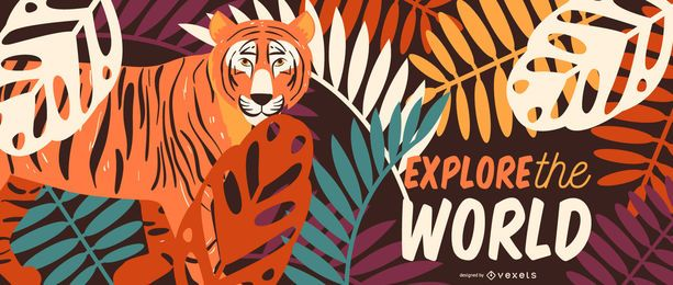 Explore safari tiger illustration