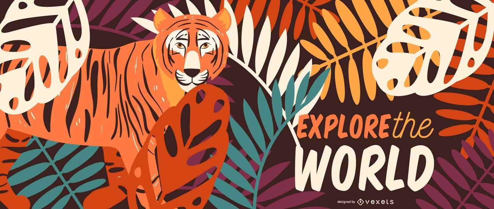 Explora la ilustración del tigre de safari
