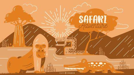 Safari-Abenteuer-Illustration