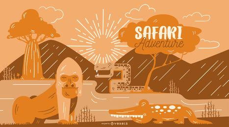Safari adventure illustration