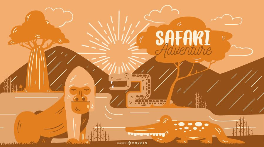 Ilustración de aventura de safari