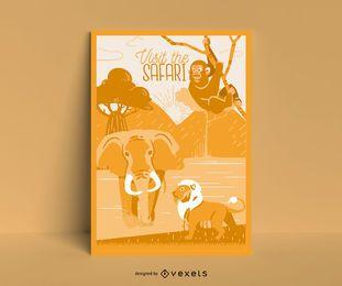 Plantilla de póster de animales de safari