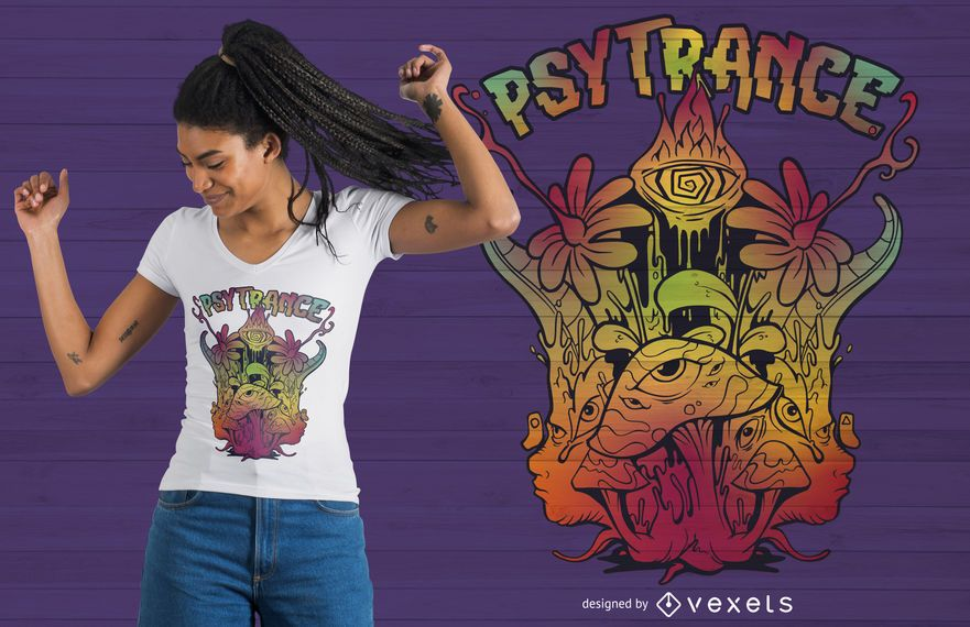 Trippy psychedelischer T-Shirt Entwurf Psytrance