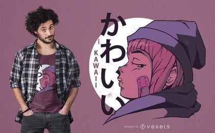 Kawaii Mädchen Anime T-Shirt Design