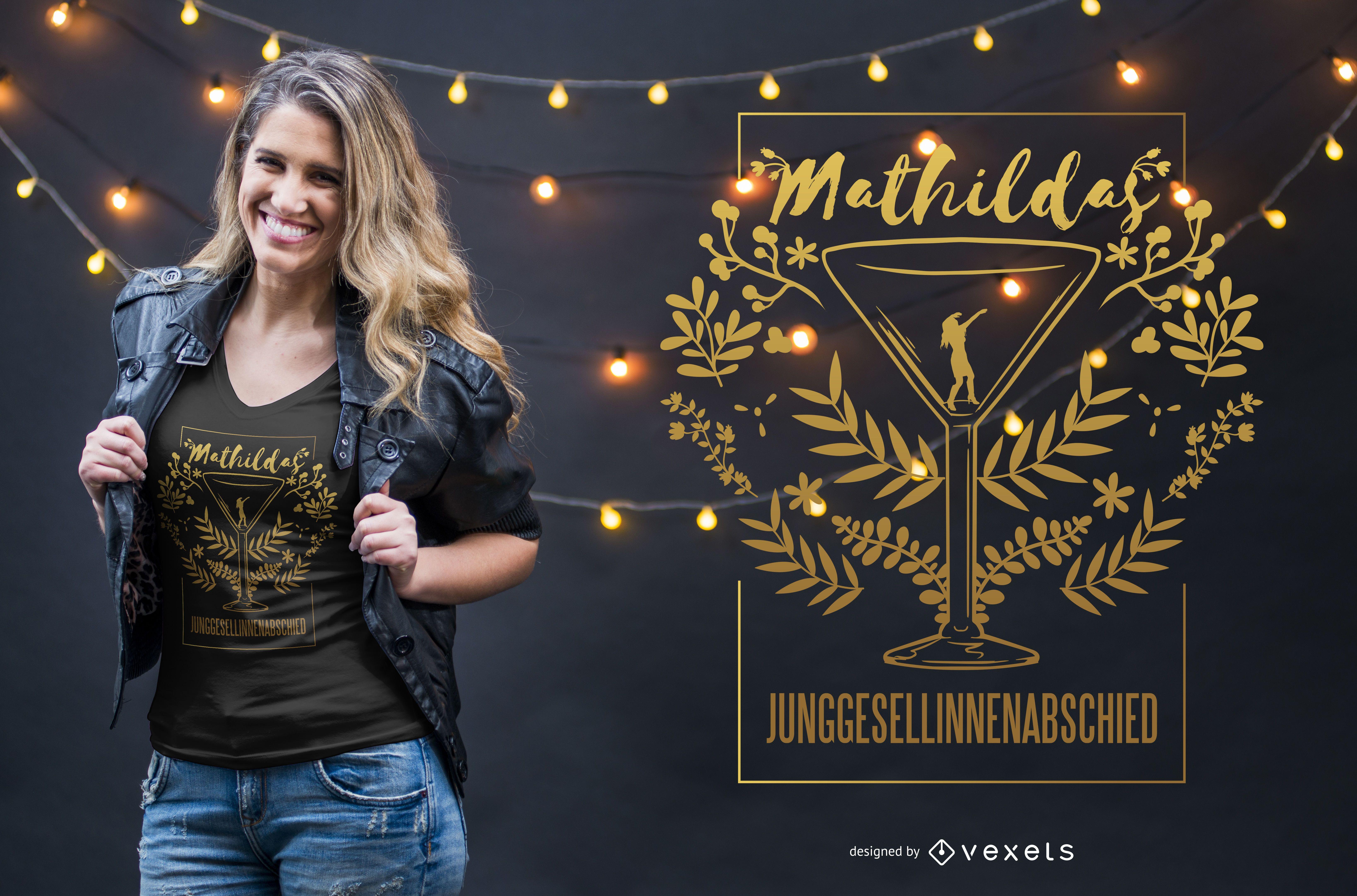 Diseño de camiseta de despedida de soltera alemana
