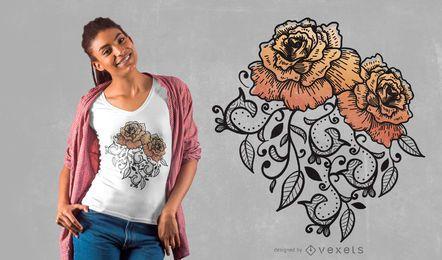 Diseño floral de camiseta rosa