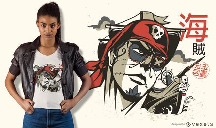 Diseño de camiseta Sugar Skull Pirate