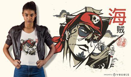Projeto do t-shirt do pirata do crânio do açúcar