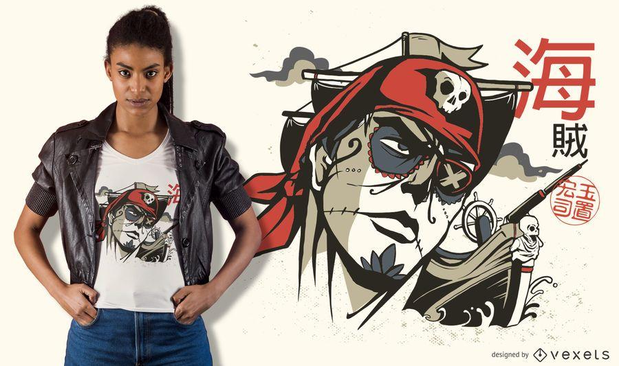 Diseño de camiseta Sugar Skull Pirate