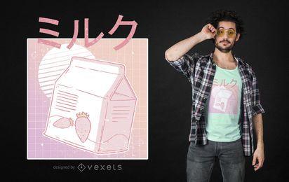 Design de camiseta de leite com morango