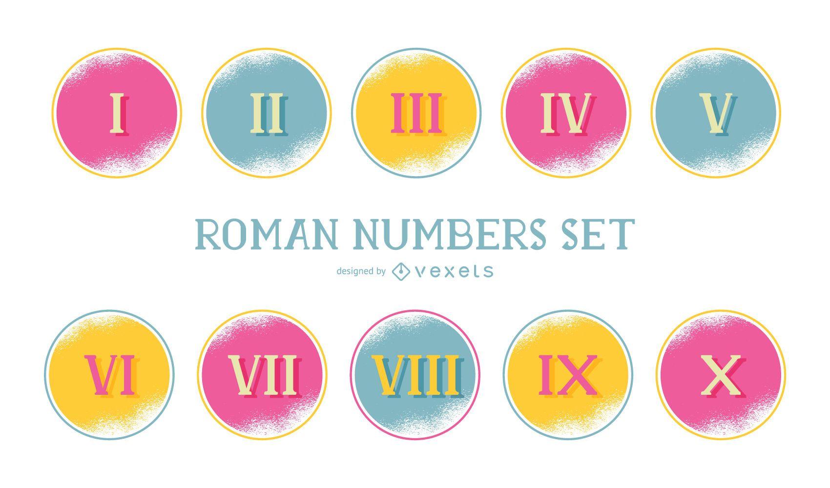 Conjunto colorido de números romanos
