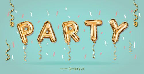 Desenho de banner de balões de festa