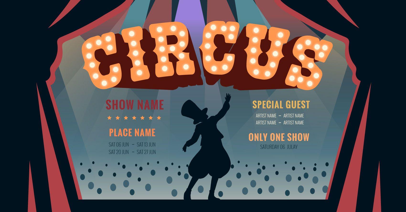 Diseño gráfico editable de circo