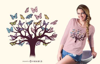 Butterflies tree t-shirt design