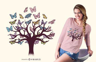Design de t-shirt de árvore de borboletas