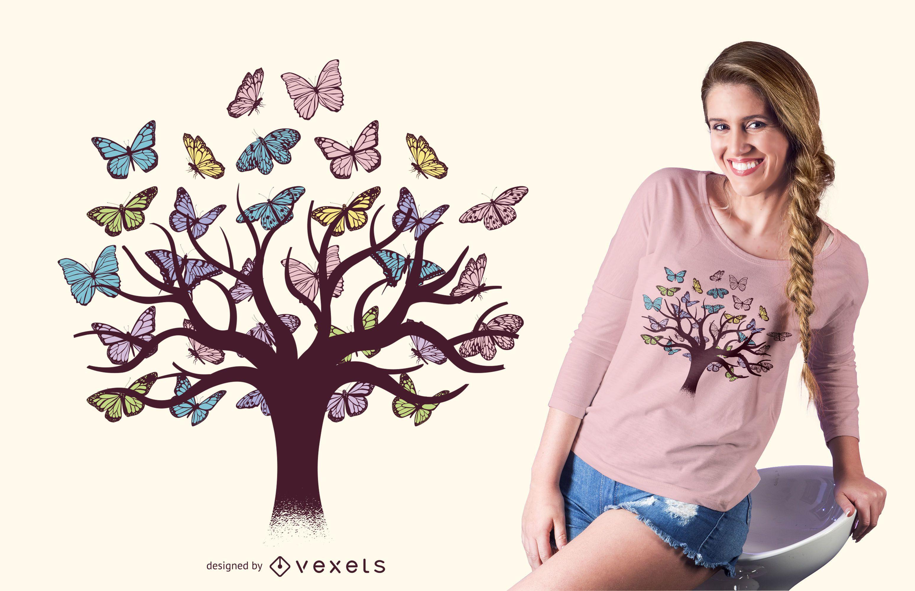 Dise?o de camiseta de ?rbol de mariposas