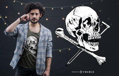 Design de t-shirt de muletas de crânio
