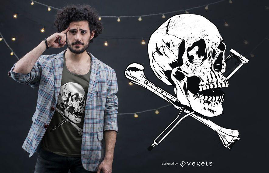 Schädel-Krücken-T-Shirt Entwurf