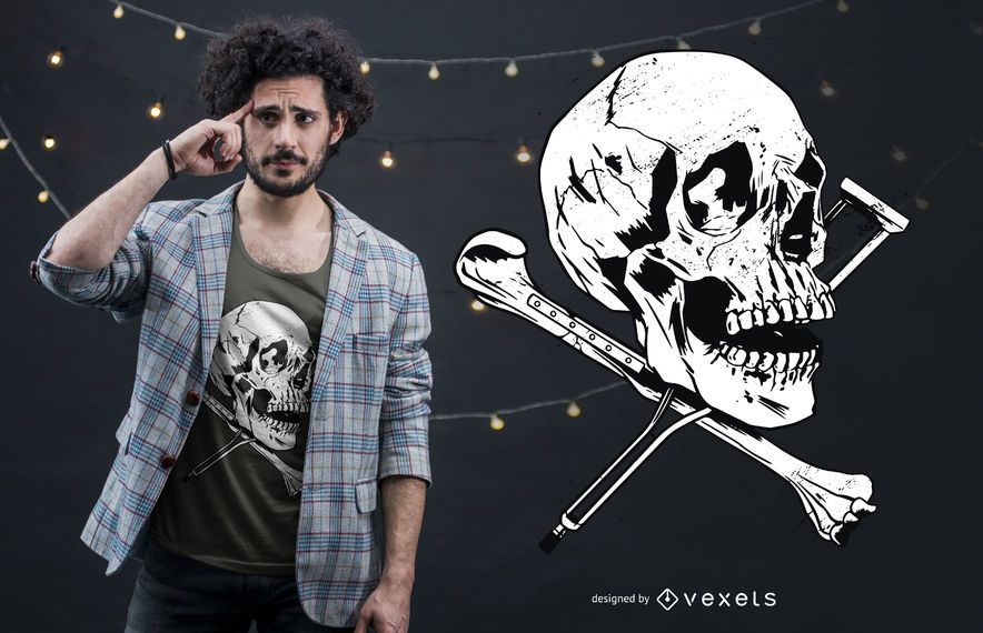 Skull Crutches T-shirt Design