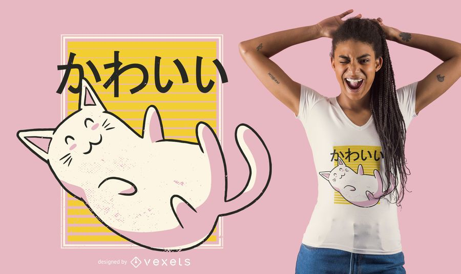Diseño de camiseta de gato kawaii