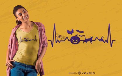 Herzschlag-Linie Halloween-T-Shirt Entwurf
